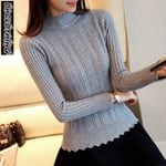 slim petal collar Elastic Turtleneck Pullover Fashion knitted sweater