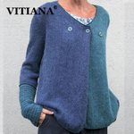 Long Sleeve Patchwork Loose Casual Knit Sweater