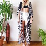 3/4 Sleeves Open Front Block Zebra Stripes Printed Long Kimono