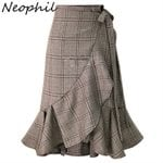 Ruffles High Waist Vintage  Plaid Lace Up Mermaid Pencil Skirts
