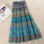 Elastic Sashes Pleated Vintage High Waist Floral Long Skirt