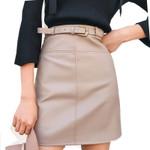 High Waist Office short  PU Leather Skirt