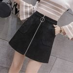 High Waist Zipper Pencil Pocket  Suede Leather Skirts