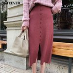 Single-breasted Hip Front Split Elegant Thick Knitted Skirt