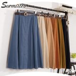 Suede Long Elegant High Waist Blue A-line Pleated Skirt