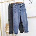 Street-wear Slim Mom Harem Stretch High Waist Jeans