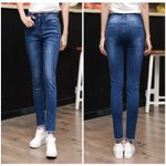 Sexy  Casual Frayed Skinny High Waist Slim Fit Pencil Jeans