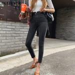 Button Stretch Skinny Pencil High Waist Jeans