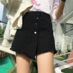 High Waist A-line Button Tassel Denim Short