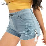 Hole Lace Up  Elastic High Waist Cotton Sexy Denim Shorts