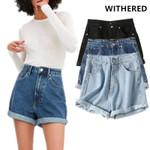 high street vintage washed denim shorts