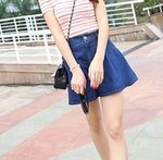Casual flares Elastic Vintage High Waist Loose Denim Shorts