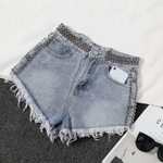 Wide Leg Loose Irregular  High Waist Washed Denim Shorts