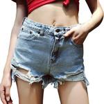 Tassel Hole Zipper Pockets Fashion  Denim Shorts