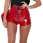 Pu Leather Lace Up High Waist Sexy Bandage Shorts