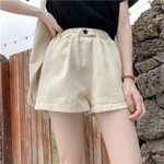 Loose Wide Leg Button Fly Pockets Cotton Shorts