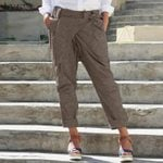 Casual Elastic Waist Casual Belted Fashion Pencil Pants