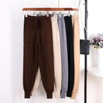 Loose Trousers Knitted  Pockets Casual Harem Pants