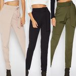 Casual Bow Loose Mid Waist Zipper Fly Pants