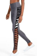 Hollow Out High  Waist Patchwork leggings Letter Print