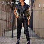 Lapel Collar Short Sleeve High Waist PU Leather Jumpsuits