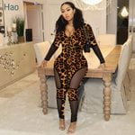 Fashion One Piece Long Sleeve Mesh Sexy Leopard Jumpsuit