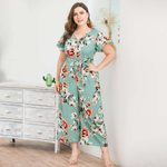 V-Neck Short-Sleeved Print Wide-Legged Jumpsuit