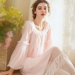 Lace Palace Vintage Nightgowns Puff Sleeve Princess Sleepwear