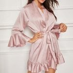 Sexy Silk Satin Lingerie Bathrobe Robe Ruffled Sleepwear