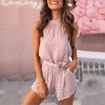 Polka Dot Belted Elegant Halter Backless Rompers