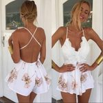 Lace Halter V Neck Floral Sexy Shorts Rompers