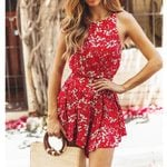 Backless Beach Short Fashion Sleeveless O-Neck Floral Rompers