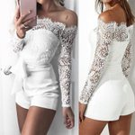 Sexy Lace Lace Off shoulder Short Trousers Romper