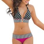 Bandage  Push-Up Swimsuit Stripe Bikini