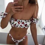 High leg Cut Cherry Print Off Shoulder Bikini