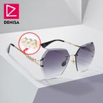 Retro Trendy Gradient Square Rimless Pearl Sunglasses