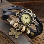 Casual Vintage Butterfly Faux Leather Bracelet Wrist Watch