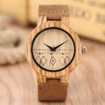 Natural Genuine Leather Band  Creative Wooden Watches