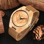 Round Shape Dial With Leather Leisure Quartz Wood Watch