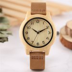 Classic Leather Bracelet Casual Wrist Creative Wooden Watch