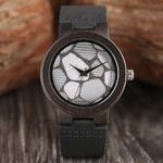 Fashion Soft Genuine Leather Natural Ebony Quartz Wood Watches