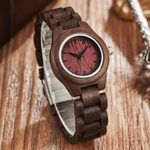 Wrist Elegant Charm Bracelet Quartz Wrist Retro Wood Watch