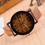 Leather Roman Numerals Analog  Fashion wood watch