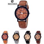 Casual Leather Modeling Quartz Wooden Watch