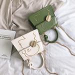 Fashion Character Printed Leather Knot Top-handle Pu Handbag