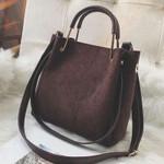Vintage Leather Tote Luxury Faux Suede Handbags