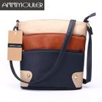 Patchwork Shoulder Tote Three Zipper Messenger Handbag