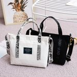 Canvas Tote Shoulder Fashion Pocket Letter Print Handbag