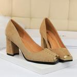 Chunky Heel Pumps Fashion Square Metal Toe Slip On High Heels