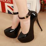 Leather Fashion Platform Shallow Pumps Buckle Super High Heels
